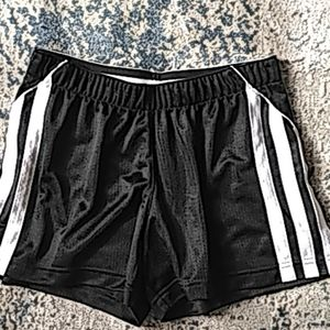 Adidas black shorts w/ white side stripes size s